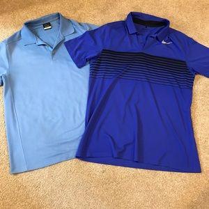 2 Nike Golf Polos • Dri Fit • Large